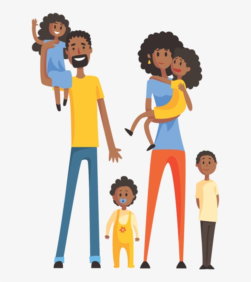 Family Animation Familia Negra Feliz Desenho Free Transparent