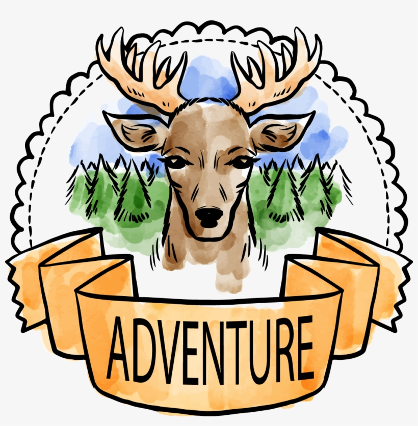 Red Deer Watercolor Painting Forest Clip Art - Art Print: Allen's Adventure Is Out There 1, 13x13in., transparent png #1265