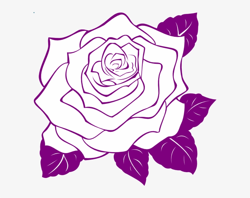 Purple Roses Clip Art Watercolor Flowers Clipart Floral - Rose Flower Outline Png, transparent png #1490