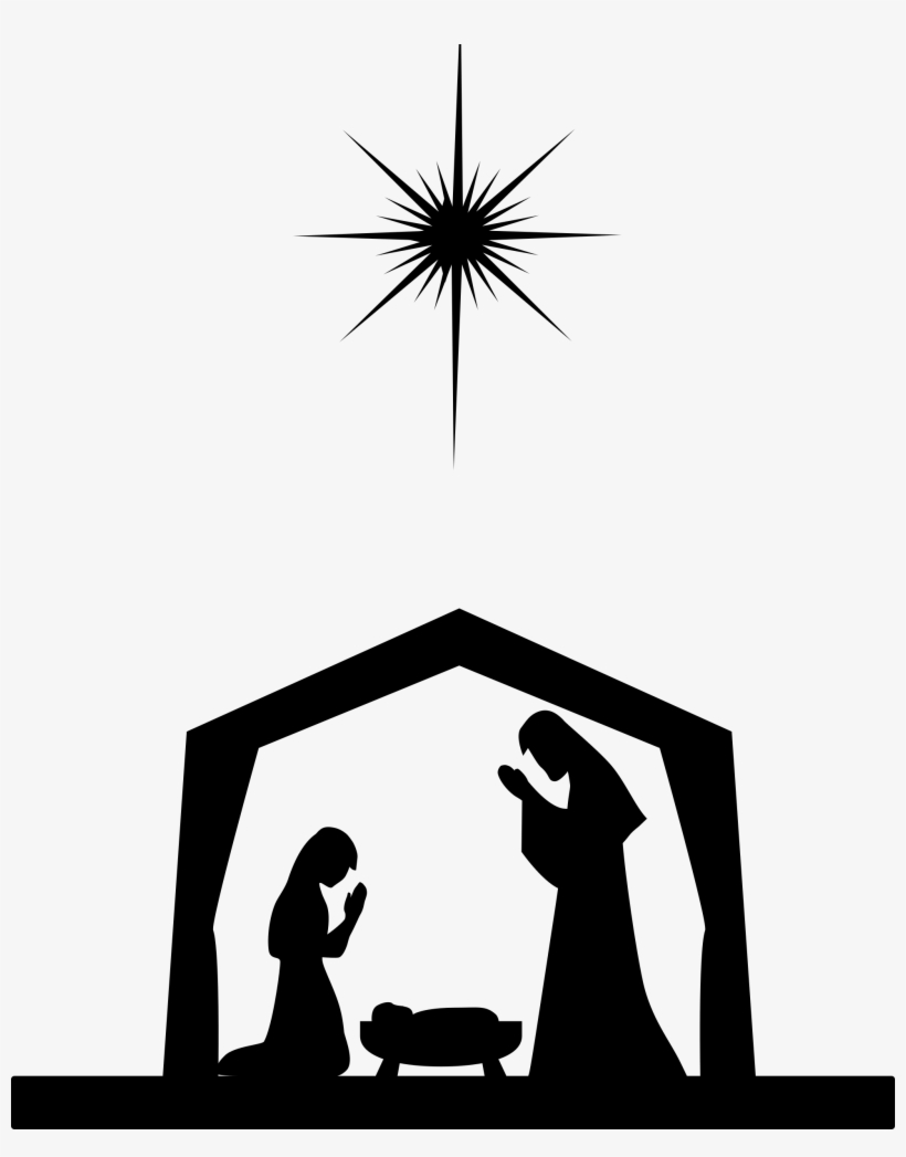 Nativity Silhouette/eps Stock Vector - Mary Joseph And Baby Jesus Silhouette, transparent png #1647