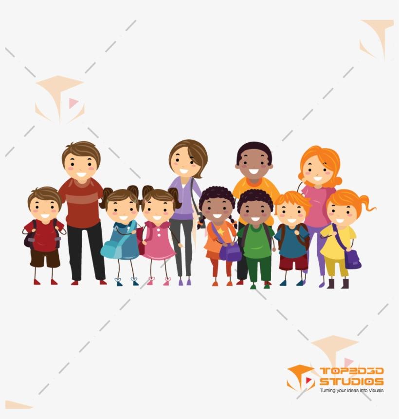 2d Group Family Character - Kids Parents Clipart, transparent png #2148
