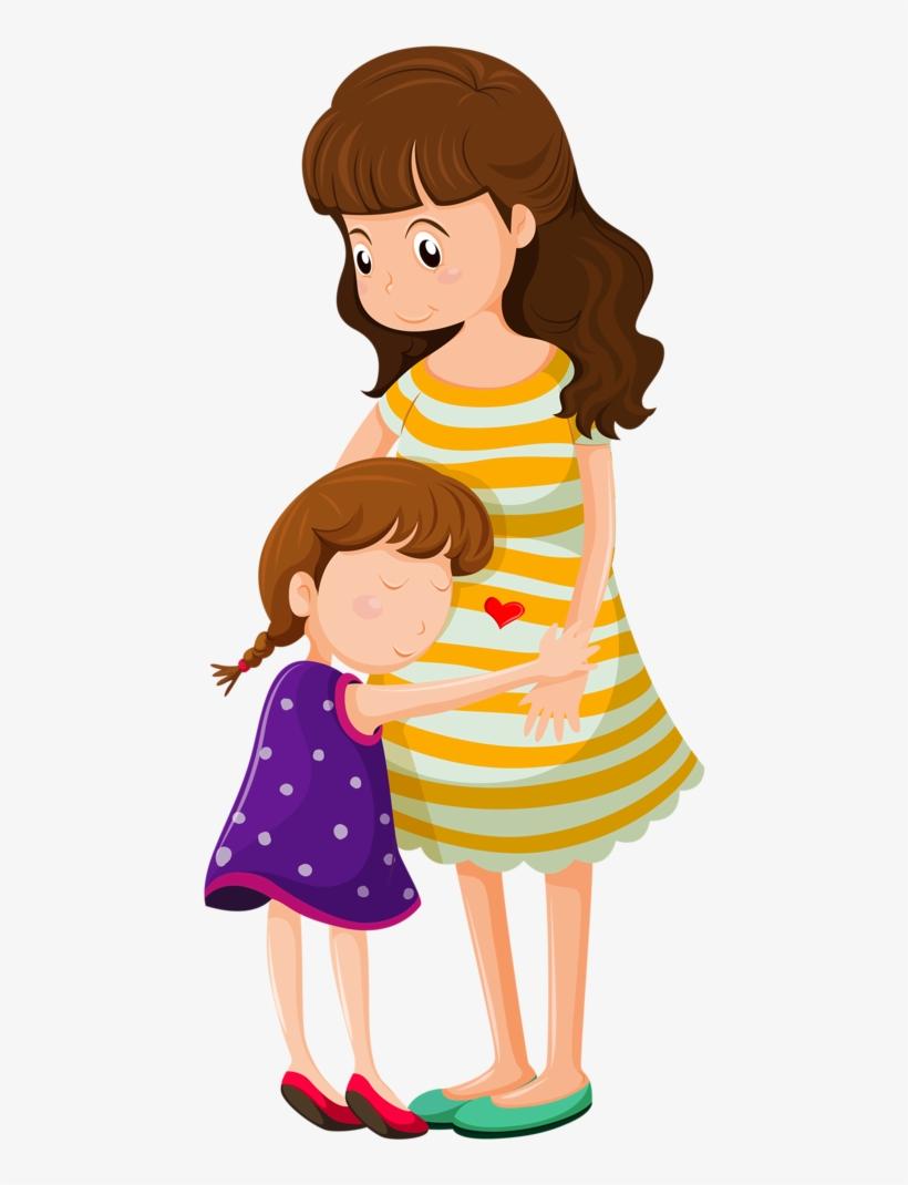Png Free Stock Png Clip Art Cat Cards And - Mother Daughter Hug Cartoon, transparent png #2962