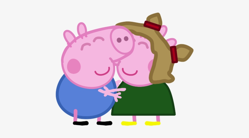 George And Elly Peppa Pig Kissing George Free Transparent Png