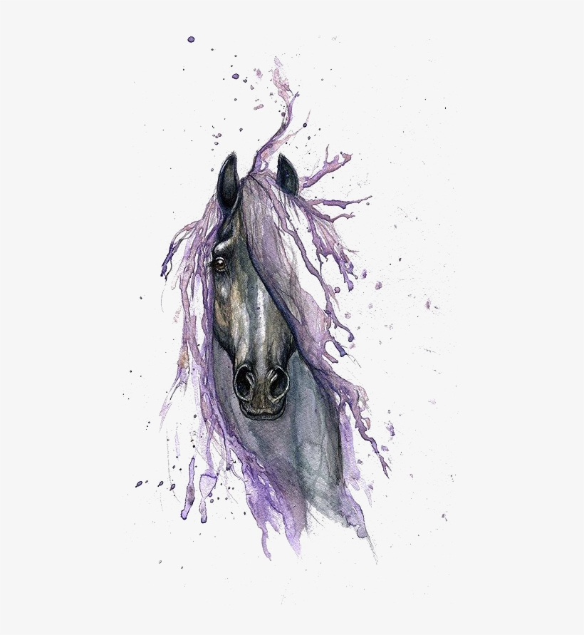 Horse Watercolor Painting Drawing Tattoo - Horse Watercolor Tattoo, transparent png #4260