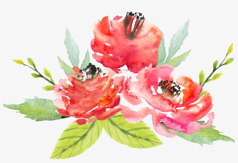 Watercolor Floral Bouquet Png - Watercolor Red Flowers Transparent, transparent png #4282