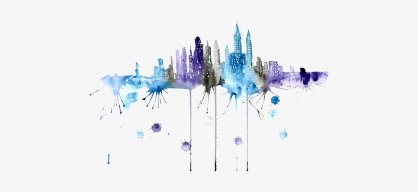 """Updates - """" - New York Skyline Watercolor Png, transparent png #4738"""