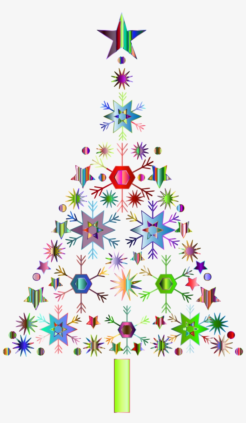 Abstract Snowflake Christmas Tree By Karen Arnold Prismatic - Clear Background Christmas Tree Clip Art Png, transparent png #4961