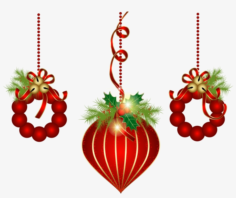 Transparent Red Christmas Ornaments Png Clipart - Christmas Decorations Clipart Transparent Background