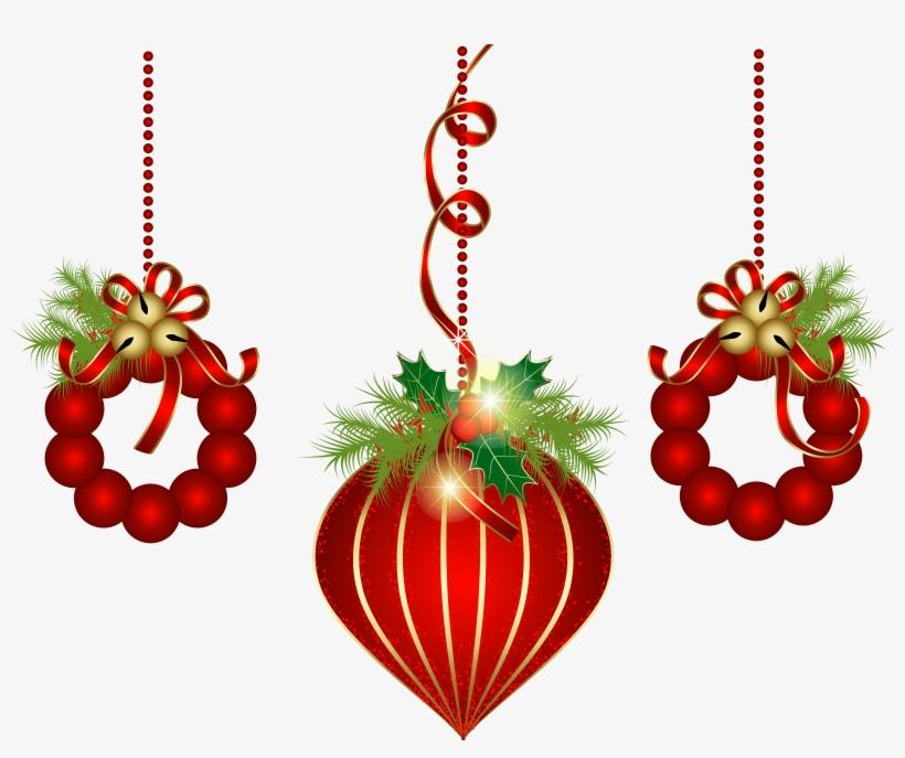 Transparent Red Christmas Ornaments Png Clipart - Christmas Decorations Clipart Transparent Background, transparent png #5567