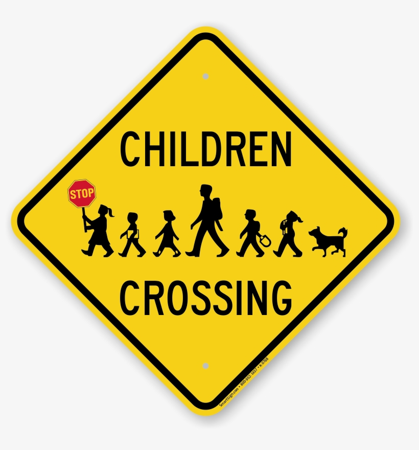Children Crossing Holding Hand Held Stop Sign - Chicken Crossing Road Sign, transparent png #5575