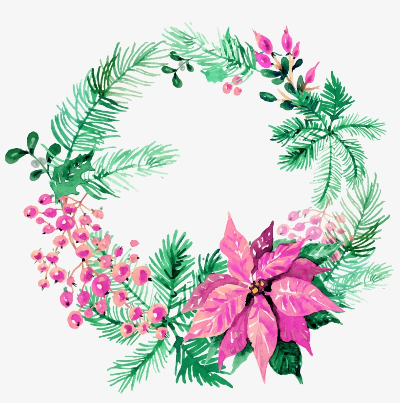 Free Christmas Watercolor Wreaths Images 4 - Watercolor Christmas Wreath Png, transparent png #5854