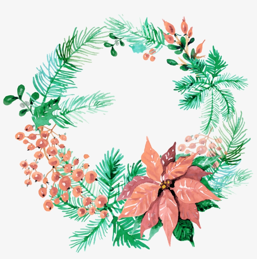 Image Freeuse Download Free Wreaths Pretty Things For - Watercolor Christmas Wreath Png, transparent png #5902