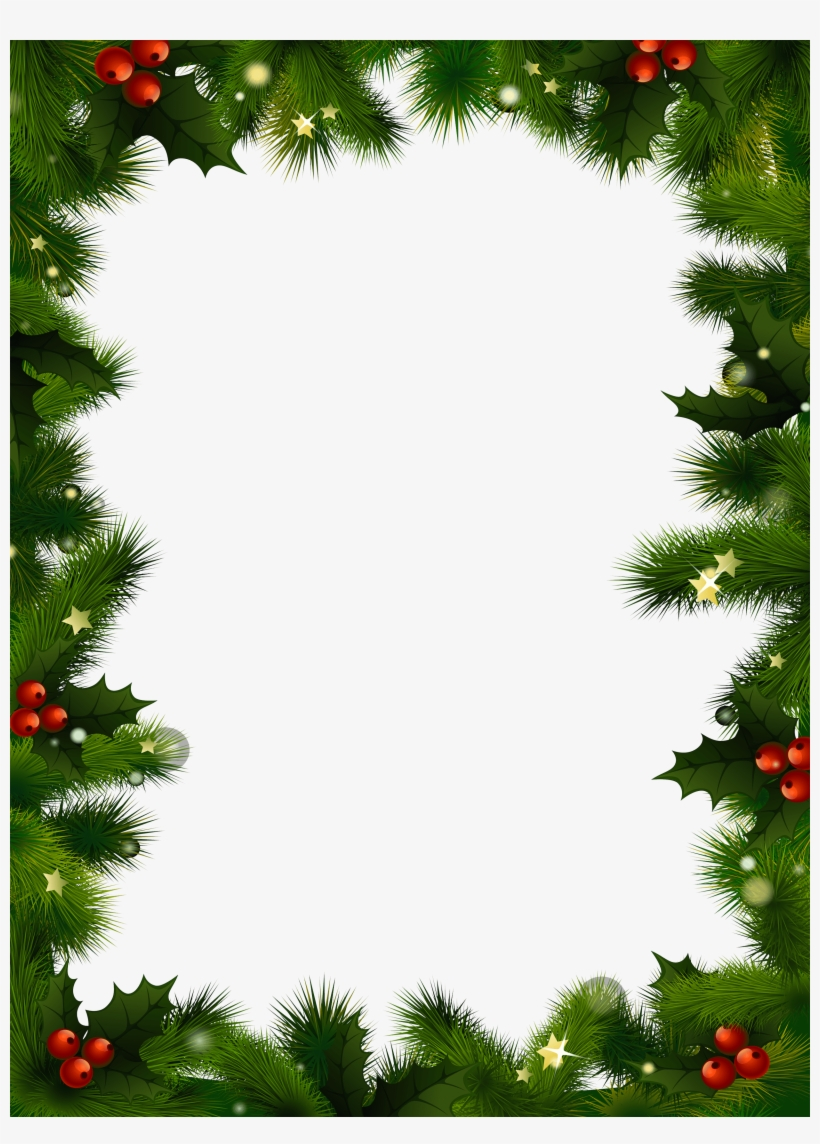 Christmas Photo Frame Mistletoe - Christmas Frame Transparent Background, transparent png #6131