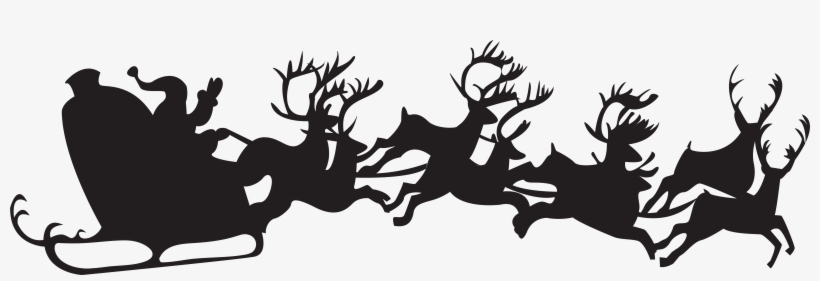 Christmas Silhouette Santa Claus With Sleigh Png Clip - Christmas Silhouette, transparent png #6299