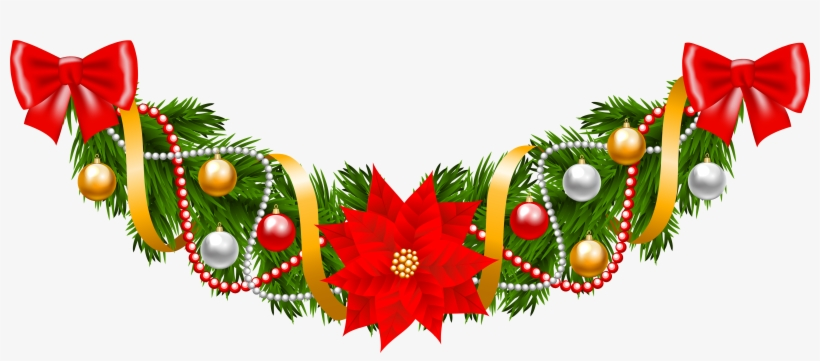 Garland Clipart Of Christmas Wreaths Image Clip Art - Christmas Garland Clipart, transparent png #6377