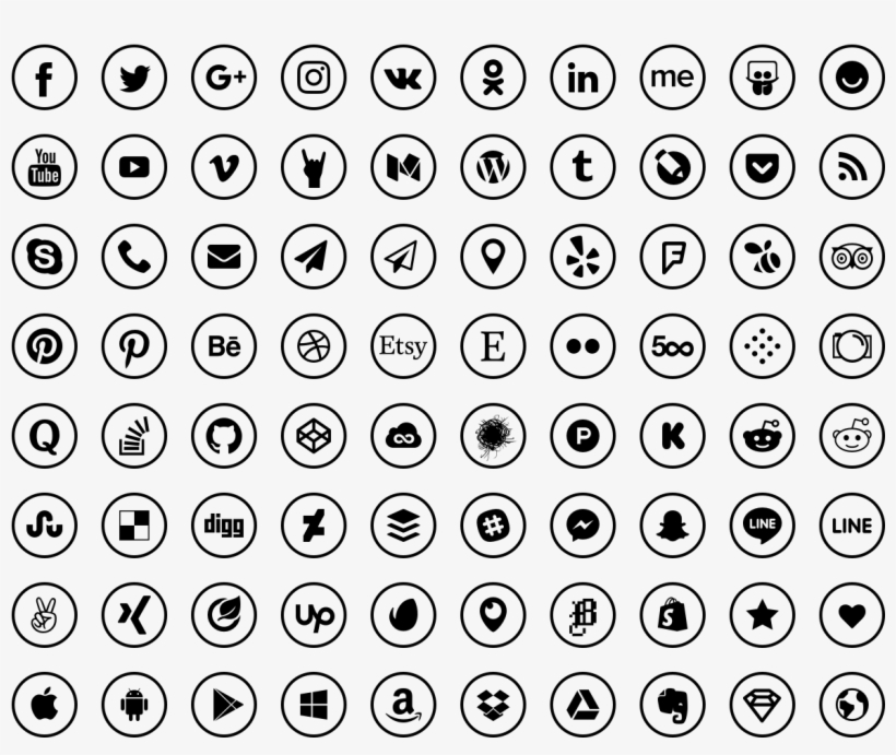 Social Media Icons - Icon, transparent png #6476