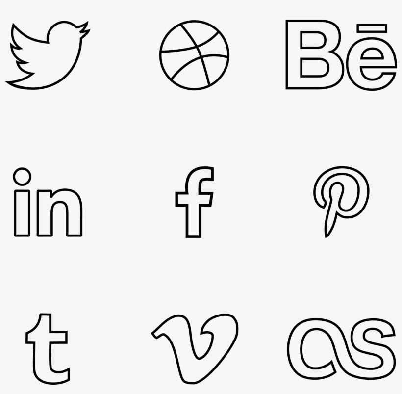 Vector Psd Outline - Social Media Line Icons Png, transparent png #6697