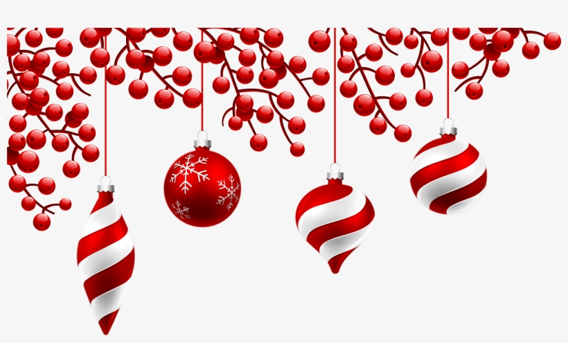 Red Christmas Decoration Png Clipart Image - Red Christmas Decorations Png, transparent png #7182