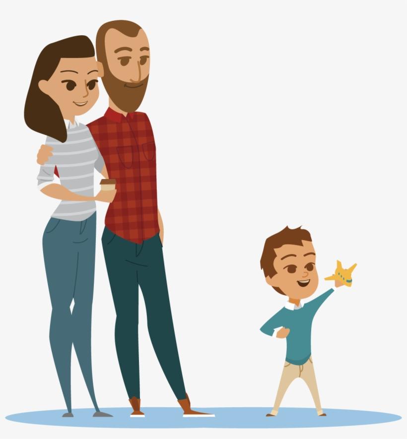 Cartoon Family Flat Design Animation - Parents Vector Png, transparent png #725
