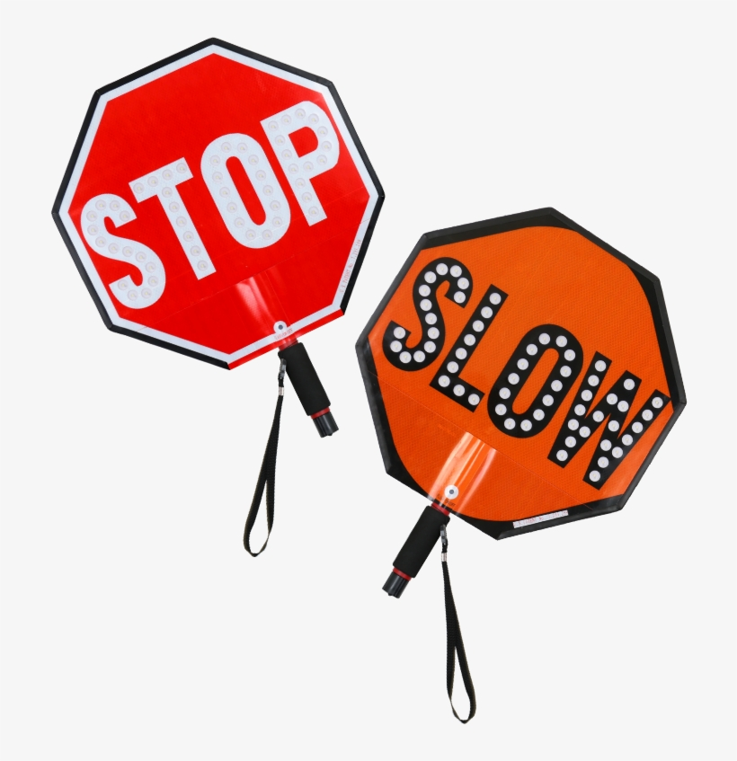 "Led Stop Slow Paddle - Stop-lite 18"" Led Hi Vis Stop/slow Paddle Sign, transparent png #7352"