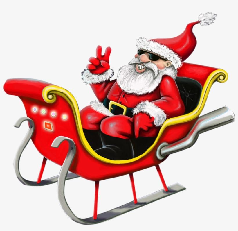 Santa Claus Png Image - Cool Santa In Sleigh, transparent png #7359