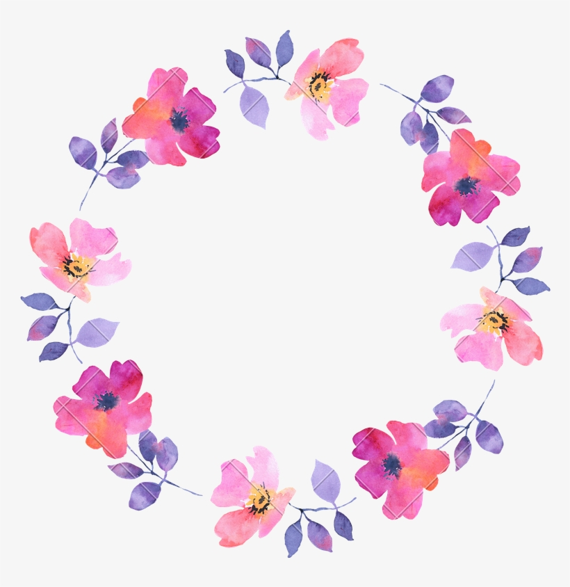 Abstract Flower Watercolor Wreath - Watercolor Painting, transparent png #7597