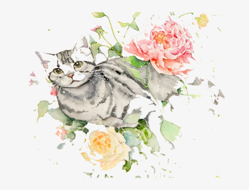 Clip Art Freeuse Download Flowers Cat Watercolor Painting - Cat With Flowers Drawing, transparent png #7843