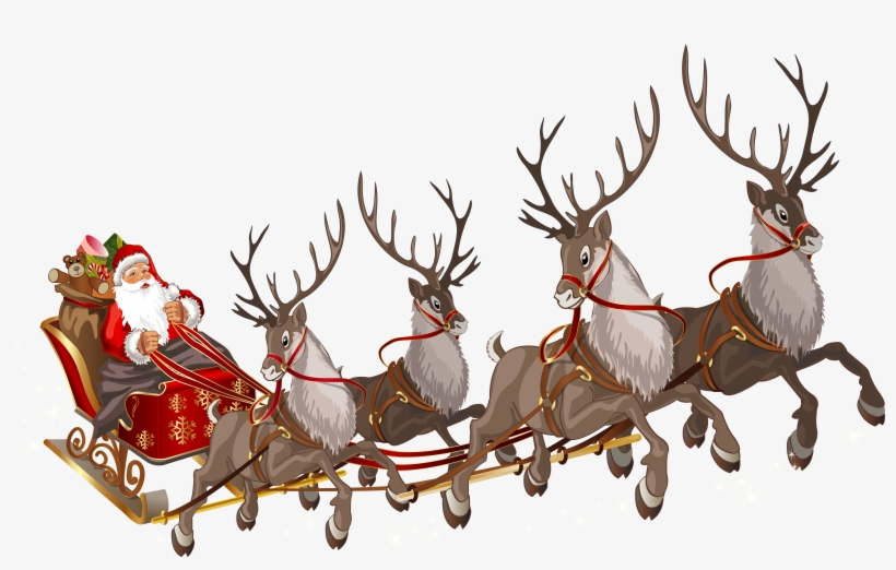 Flying Santa Claus Png - Santa Claus With Reindeers Png, transparent png #7923