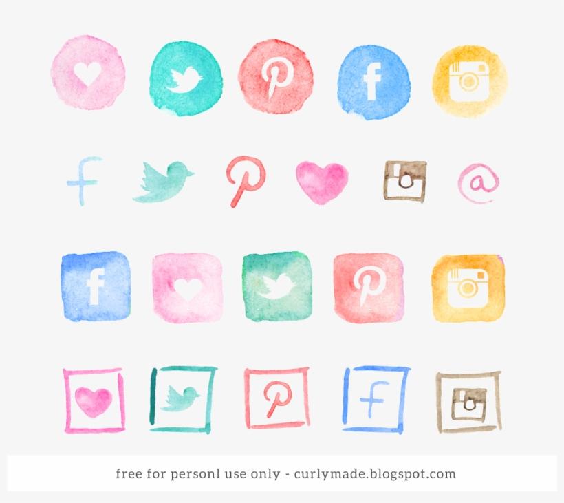 Social Media Logos 48 Free Icons Svg Eps Psd Png Files,social - Social Media Icons Watercolor Png, transparent png #8202