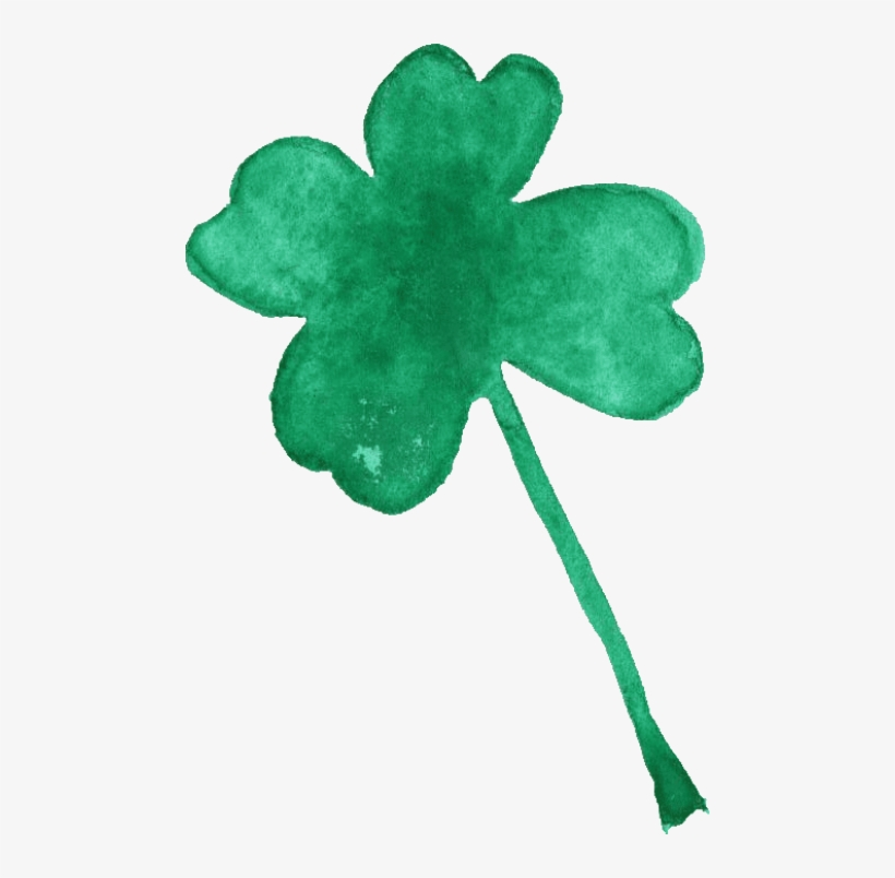 Free Download - Watercolor Four Leaf Clover Png Free, transparent png #8288