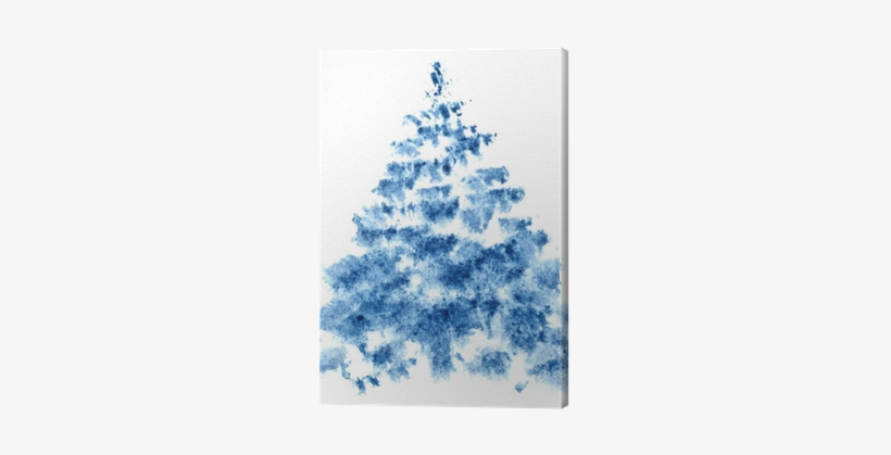 Blue Watercolor Christmas Tree Canvas Print • Pixers® - Christmas Tree, transparent png #8602