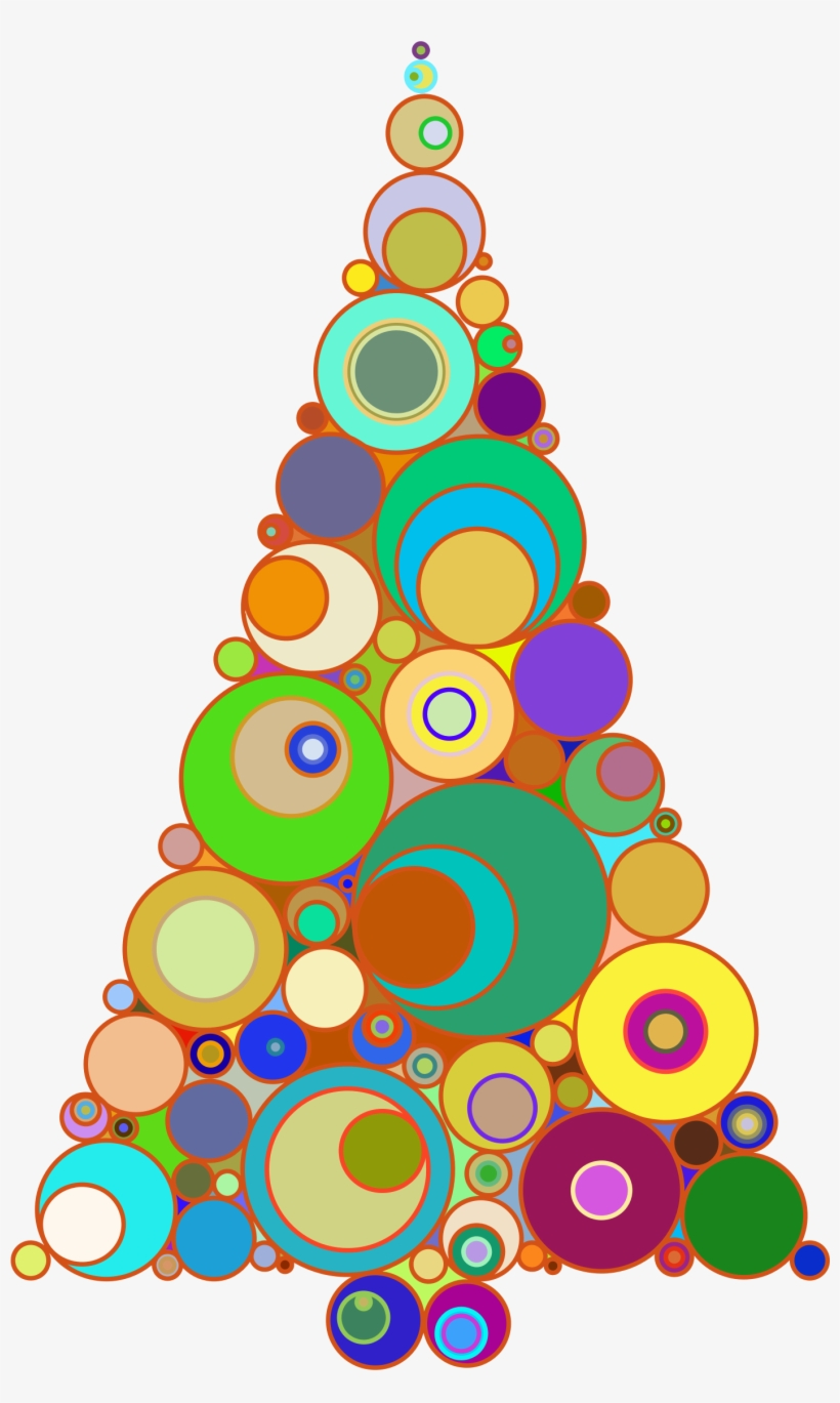 Colorful Abstract Circles Christmas Tree - Abstract Christmas Tree Clipart, transparent png #8754