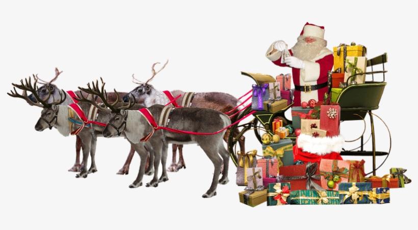 Santa Claus Sleigh Deer Gifts Transparent Png - Santa Claus And The Reindeer Png, transparent png #9016