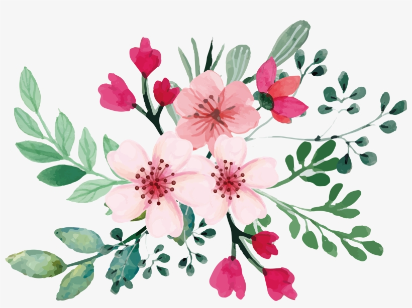 Romantic Watercolor Cherry Blossom Bouquet - Watercolor Flower Svg, transparent png #9156