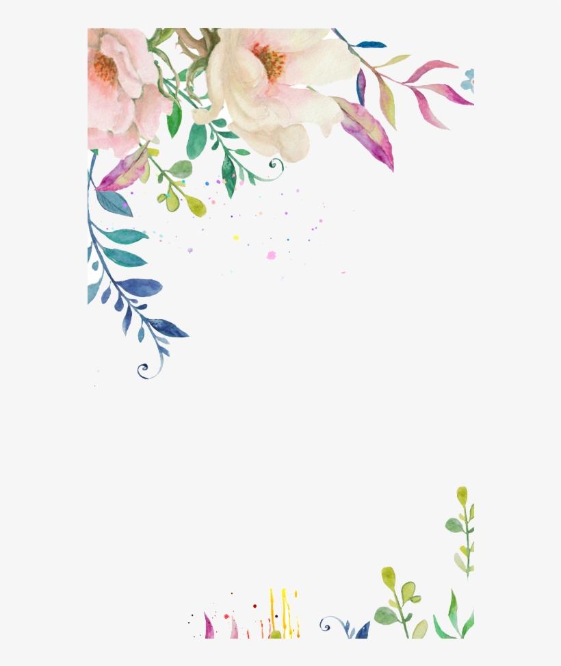 White Watercolor Flower Png - Pastel Flower Border Png, transparent png #9186