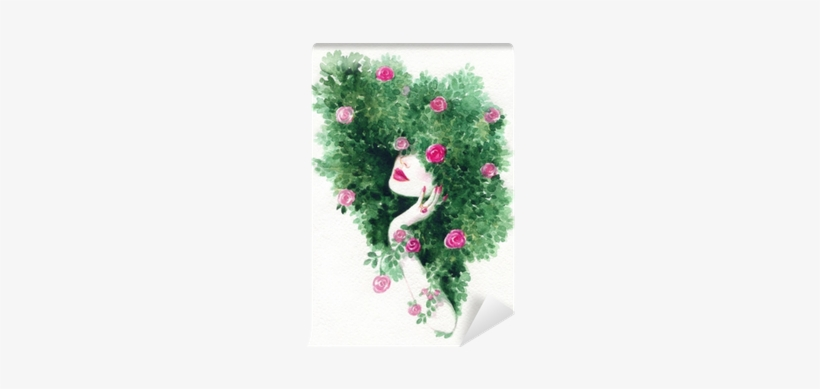 Beautiful Woman And Flowers - Watercolor Painting, transparent png #9558