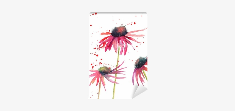 Summer Flowers, Watercolor Flowers Wall Mural • Pixers® - Watercolour Flowers Simple Painting, transparent png #9775