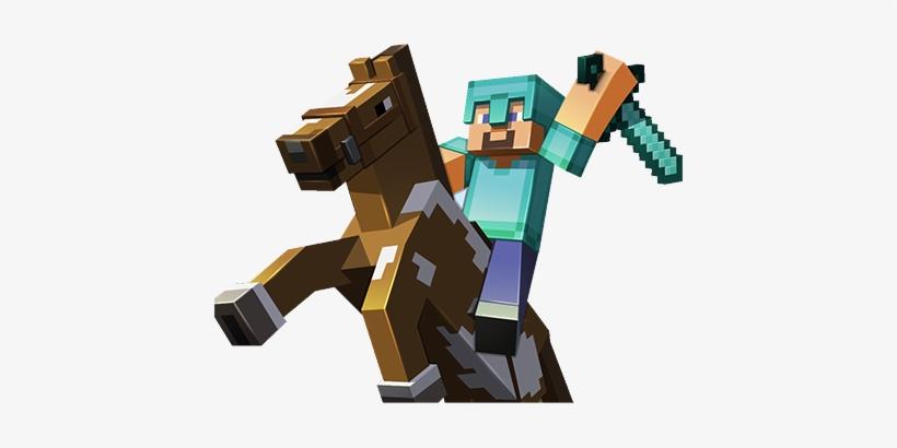 Steve Riding Horse Minecraft Papercraft 48 Piece Minecart Set Free Transparent Png Download Pngkey