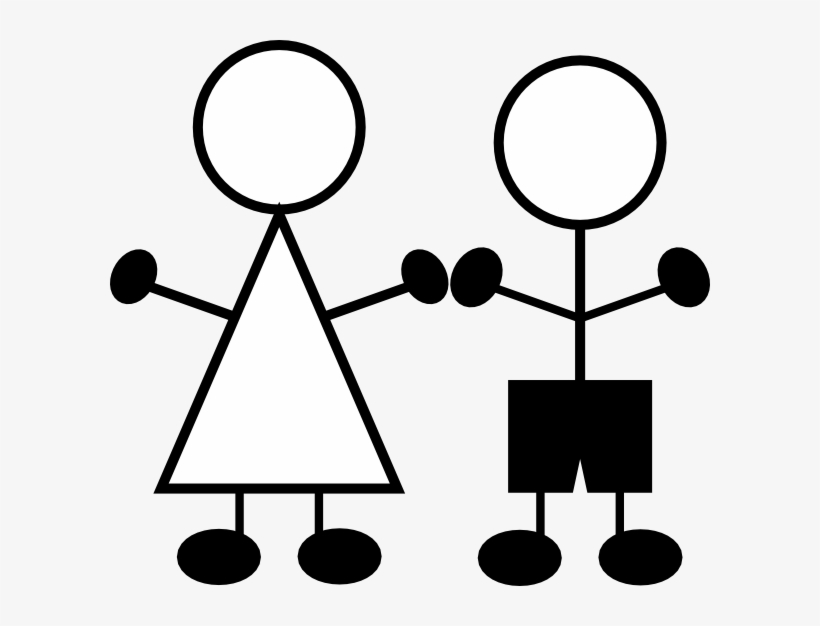 Stick Figures Girl And Boy Clip Art At Clker - Stick Figure Boy Clipart, transparent png #10017