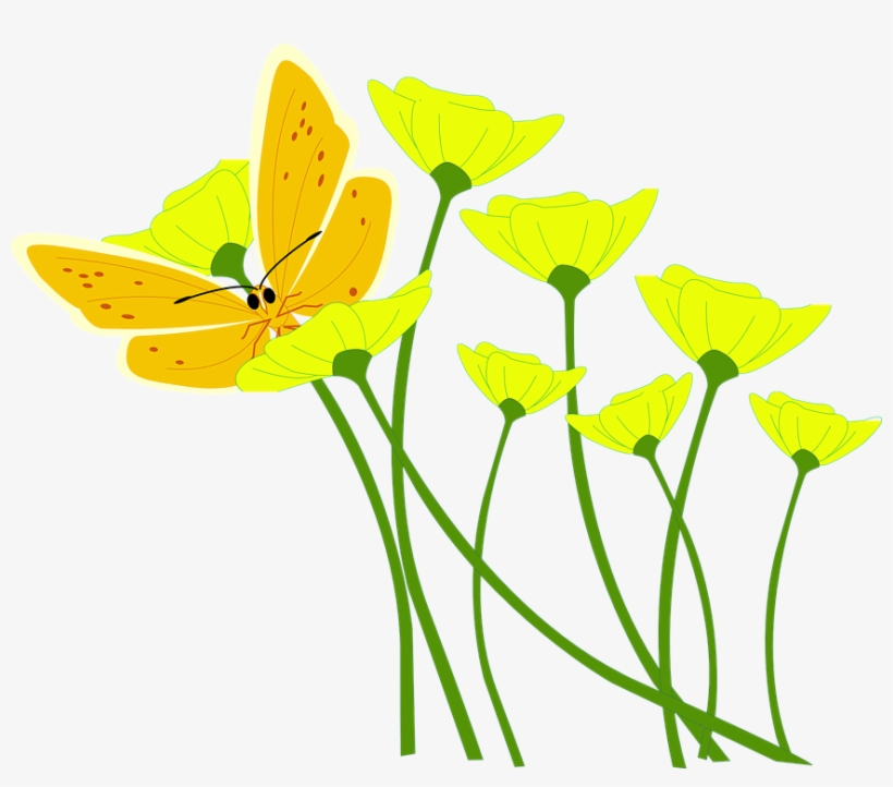 Spring Flowers Vector Png Image Royalty Free - Yellow Flowers Clip Art, transparent png #10349