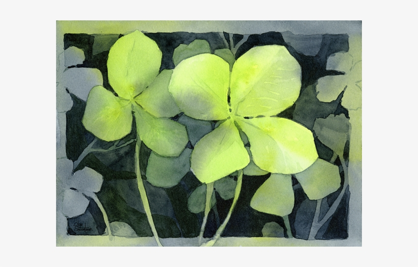 Click And Drag To Re-position The Image, If Desired - Watercolor 2 Clovers, transparent png #10796