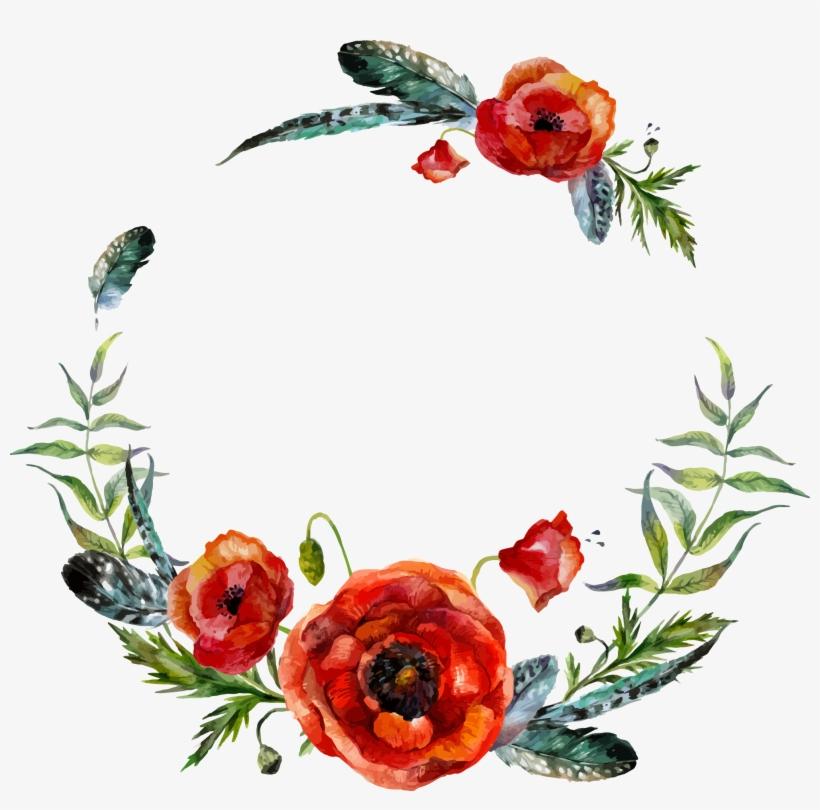 Boho Vector Watercolor - Bohemian Flower Clip Art, transparent png #10995