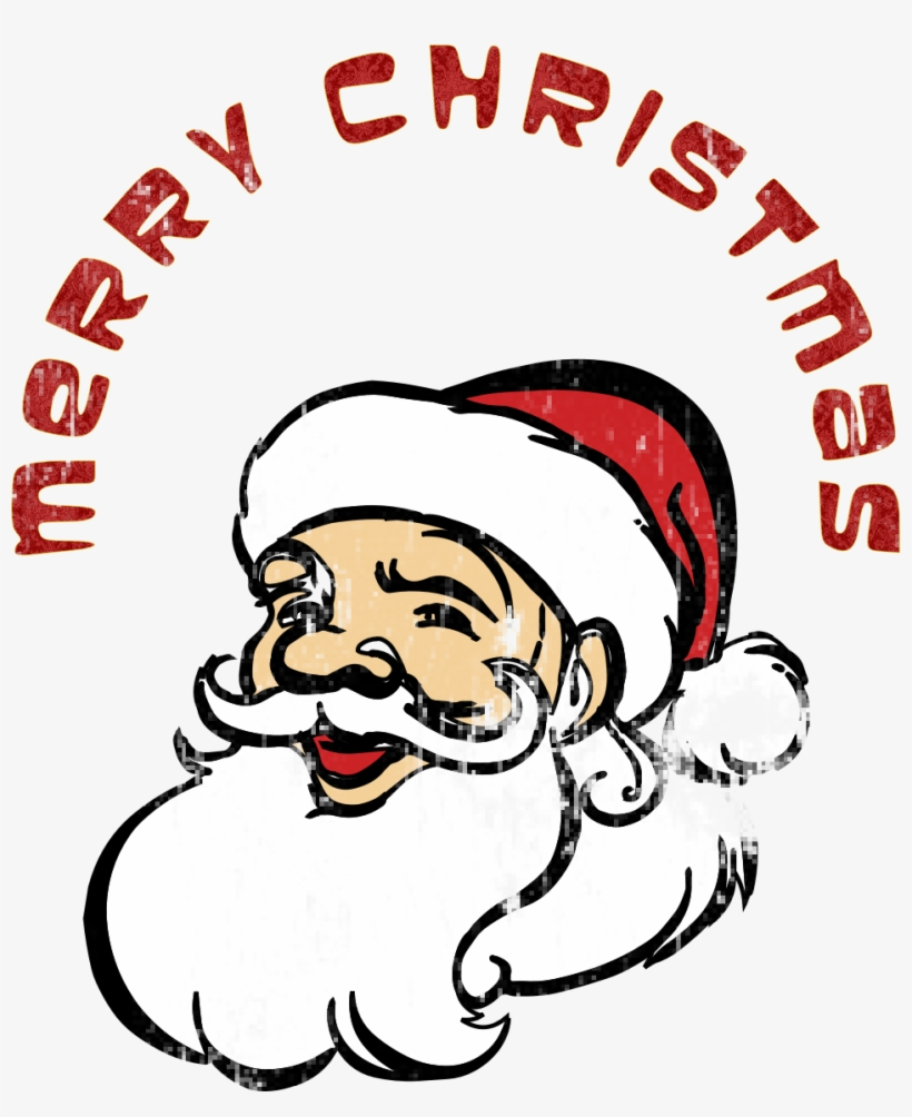 Merry Christmas Santa Claus Jpg Black And White Download - Santa Claus With Merry Christmas, transparent png #11197