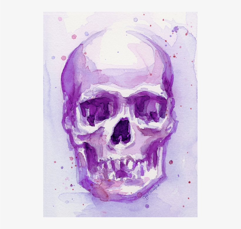 Click And Drag To Re-position The Image, If Desired - Purple Skull Art, transparent png #11203