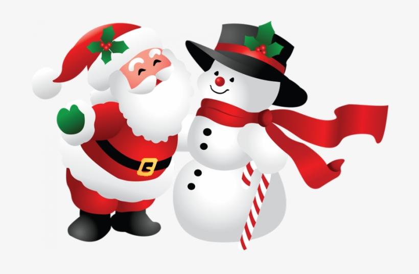 Snowman And Santa Claus Png - Pere Noel Et Bonhomme De Neige, transparent png #11219