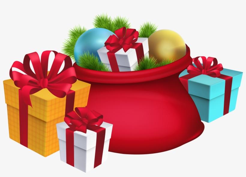 Christmas Santa's Sack Decorations Png Clipart Imageu200b - Christmas Decorations Png, transparent png #13176