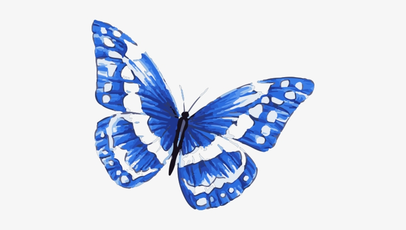 Blue Morpho Butterfly Tattoo In Watercolor Art With - Blue And White Butterfly Tattoo, transparent png #13592