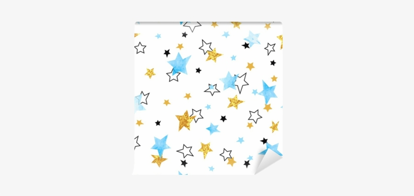 Seamless Stars Pattern - Watercolor Painting, transparent png #14003