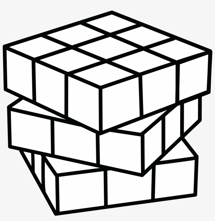 Cube Clipart Coloring Page - Rubix Cube Coloring Pages, transparent png #14371
