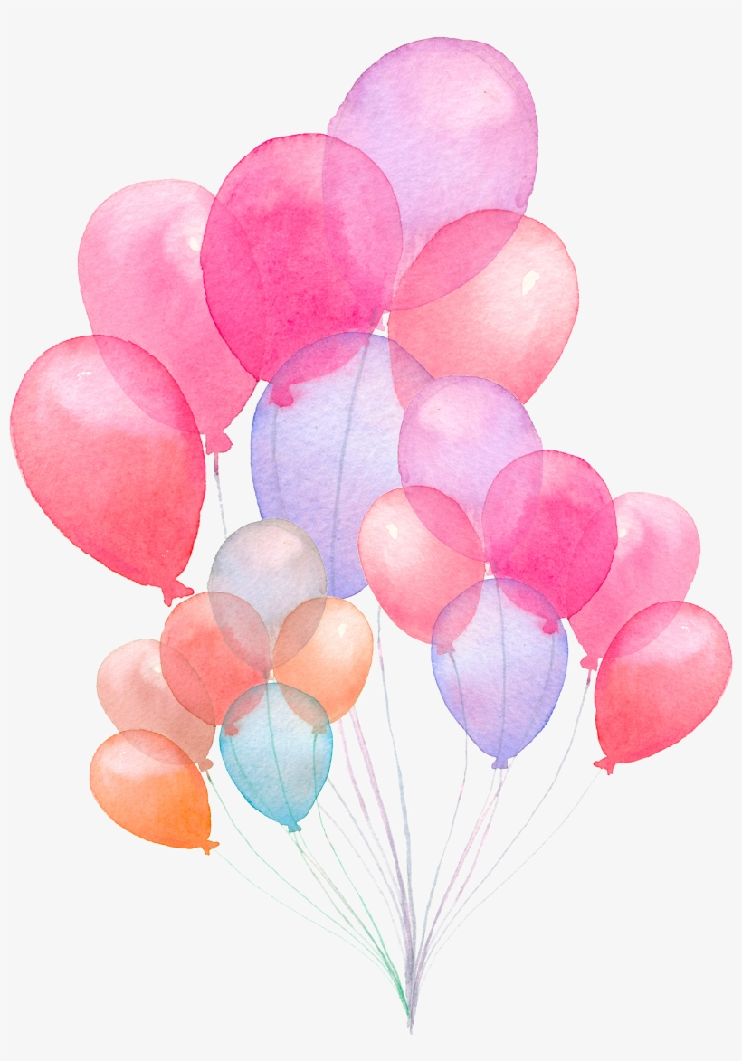 Ftestickers Watercolor Balloons Colorful - Baby Shower Guest Book: Storybook, transparent png #14987